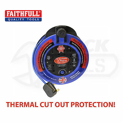 FAITHFULL 10m 33' 4-Gang Socket 2400w Extension Cable Lead Reel FPPCR1013PRO