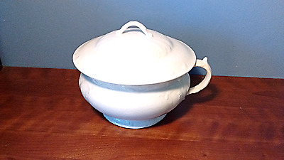 Antique, White Cornell Ironstone Chamber Pot With Lid