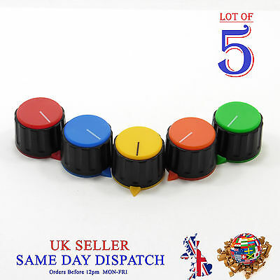 5x 6mm Big Push on Knob for Potentiometer Plastic Cap Different Colors 23mm