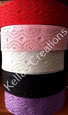 """Grosgrain Ribbon with Hole Pattern 1.5""""- 38mm wide Sold by 2 M - Craft -Hair"""
