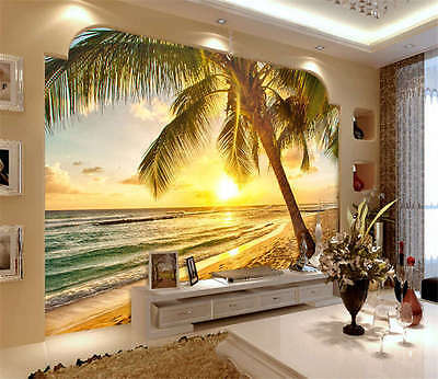 Vivid Beach Sunrise Full Wall Mural Photo Wallpaper Print Kids Home 3D Decal