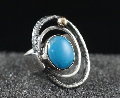 Turkish Handmade Turquoise Sterling Silver 925K And Bronze Ring Size 7
