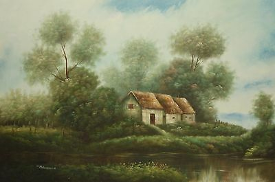 Timber framed thatched cottage 36x24 OIL PAINTING on flat canvas signed PETERSON