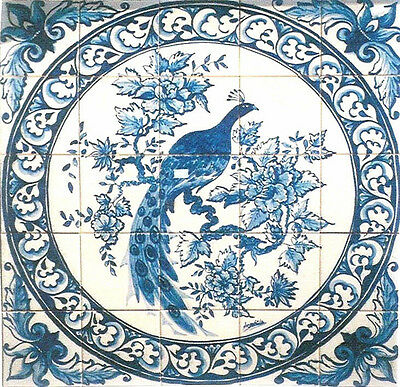 Magnificent Portuguese blue and white ceramic tile peacock mural back splash.