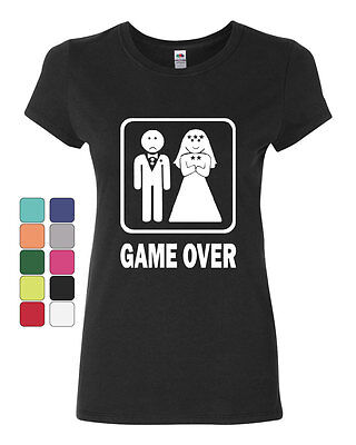 Game Over Funny Cotton T-Shirt Groom And Bride Wedding