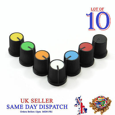 10x 6mm Big Push on Knob for Potentiometer Plastic Cap Different Colors 15mm