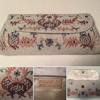 Vintage 50's Micro Beaded Floral Evening Clutch Made In Belgium Bridal Prom