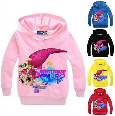 Mädchen Shimmer and Shine Kinder Freizeit Kapuzen Cartoon Baumwolle Hoodies