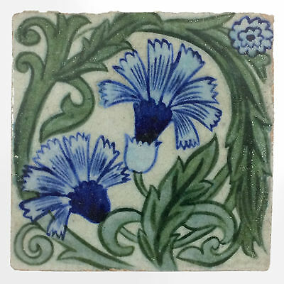 Victorian Merton Abbey William De Morgan Persian Flowers Painted Tile