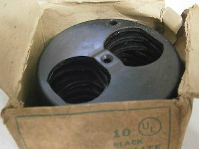Bakelite Round Vintage Outlet Cover 3 1/4 Inch Box Of 10 NOS  Black Old House