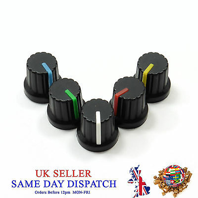 6mm Push on Knob for Potentiometer Plastic Cap Different Colors 15mm