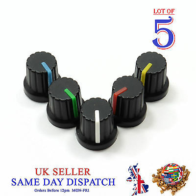 5x 6mm Push on Knob for Potentiometer Plastic Cap Different Colors 15mm