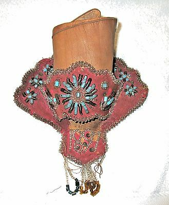 Antique Victorian Beaded Whimsey/Wall Pocket, Iroquois Native circa 1897
