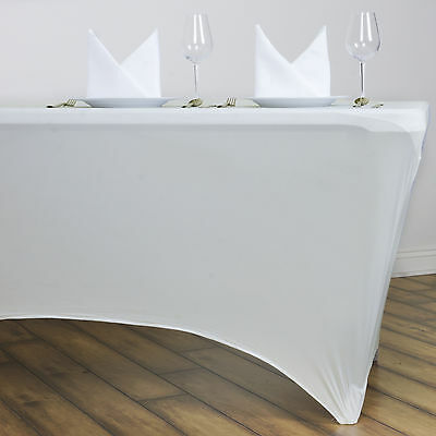 Ivory 6 ft RECTANGLE SPANDEX STRETCH TABLE COVER Fitted Tablecloth Wedding Party