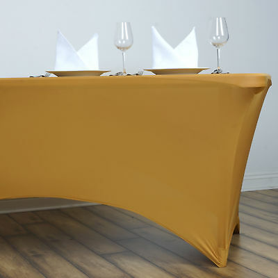 Gold 6 ft RECTANGLE SPANDEX STRETCH TABLE COVER Fitted Tablecloth Wedding Party