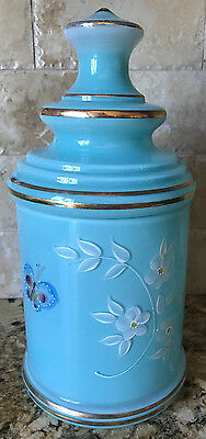 Antique Blue Opaline Large Art Glass Gilt Painted Floral Apothecary Jar & Lid