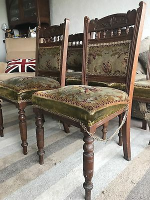 Victorian Dining Chairs - set Of 6 With Original Coverings. Walnut Or Mahogany