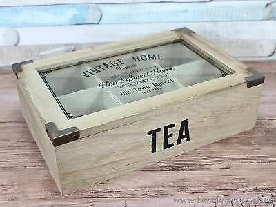 Vintage home tea box with 6 compartments and glass lid