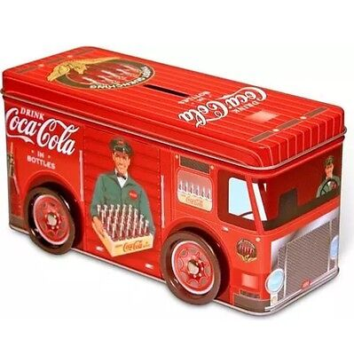 Coco-Cola Coke Tin Truck Coin Bank With Wheels