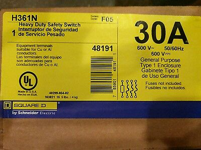 Square D Safety Switch H361N 30 Amp 600 Volt Fusible 3 Pole Disconnect