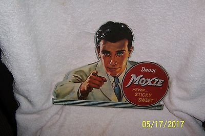 Vintage DRINK MOXIE Never Sticky Sweet Cardboard Advertising Sign