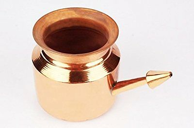 Surgicals Pure Copper Jala Neti Pot for Sinus Irrigation 450 ml with 10 sachet o