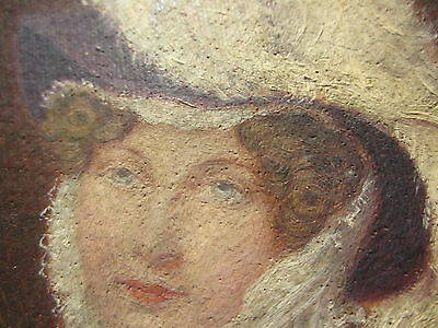 Miniature 19thC Oil Painting Canvas Portrait Original Unsigned Glued to Fabric