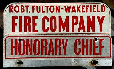 Vintage PEACH BOTTOM PA License Plate Tin Topper Sign Robt Fulton Wakefield Fire