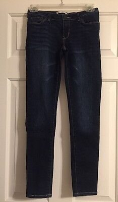 Levi's Girls Size 12 Denim Dark Blue Jeans 710 Super Skinny