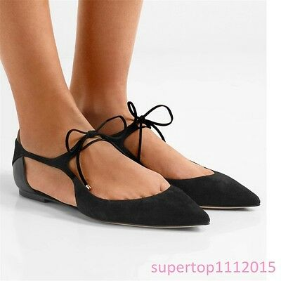 b1f539b25d79c Womens Pointy Toe Flats Suede Lace up Sexy Ladies Slip on Shallow Mouth  Shoes sz