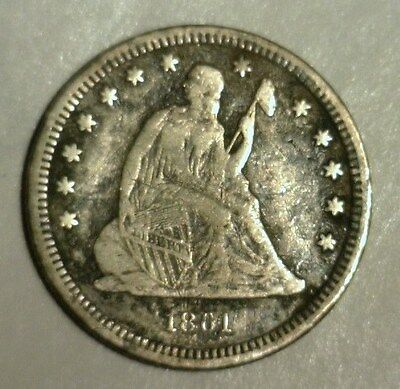 1861  Seated Liberty Silver Quarter Dollar  Circulated   Nice Looking Coin!!!!