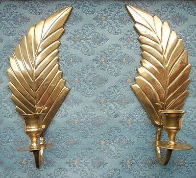 Old Pair Vintage Brass Victorian style wall candlestick candle holders Sconces