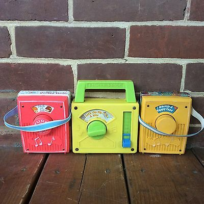Lot: 3 Vintage Fisher Price Pocket Radio Music Box Tote-A-Tune 763 772 791 1970s