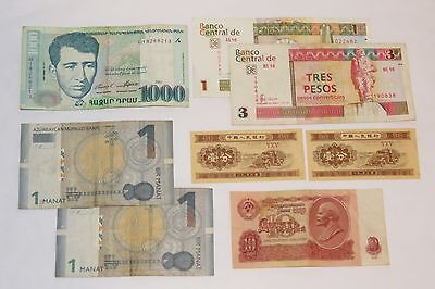 Mixed Lot, Eight Circulated Paper Money Banknotes