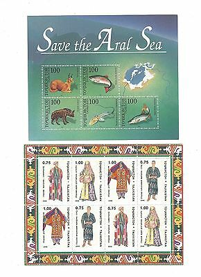 Two Tajikistan Stamp Minisheets, Traditional Costume & Save Aral Sea, MNH