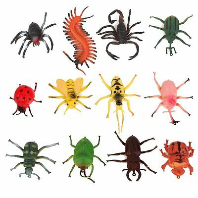 12x Plastic Bug Insect Kid Toy Party Bag Filler Display Model Figure Trick Play