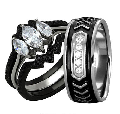 Black Stainless Steel Titanium AAA CZ His & Hers Wedding Engagement Ring Set LK