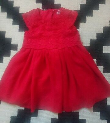BABY GIRL 6-9 months RED PARTY PROM OCCASION WEDDING TUTU LACE DRESS