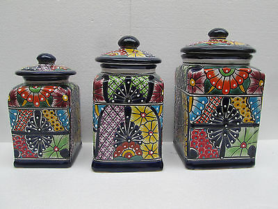 set of 3 KITCHEN JAR cookie, spice mexican talavera ceramic colorful handmade