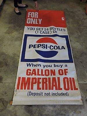 Vintage Pepsi Cola Pop & Imperial Oil Adv. Canvas Gas Station Banner Sign, 35x82