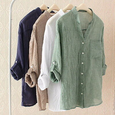Ladies Sheer Thin Loose Linen Shirt Top Roll Up Sleeve Button Casual Blouse DF