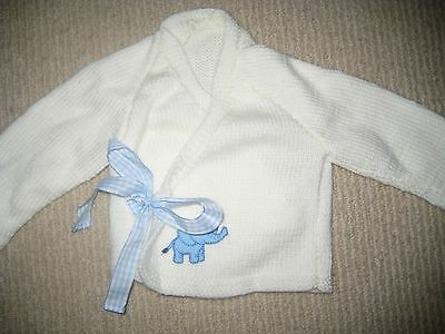 Baby Boy Hand Knitted Cotton Cardigan / Jumper White BRAND NEW Size 000