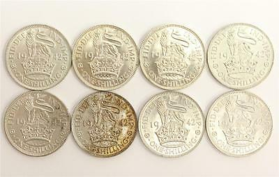 8 X 1942 Great Britain Silver Shillings 8 coins are almost uncirculated AU50-58