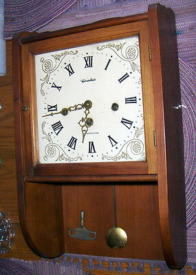 Herschede Westminster Chime Wall Clock Model H814 w/Pendulum & Key