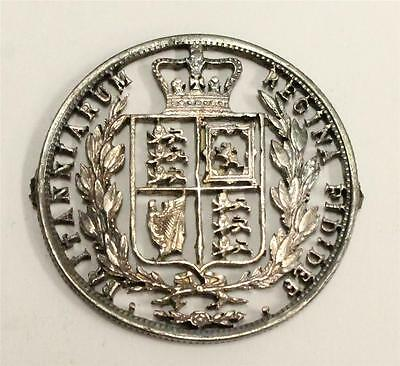 Queen Victoria Half Crown 1800s silver cut-out ex-jewelry mounts 3 & 9 oclock