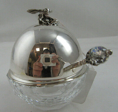 New Very Nice Honey Dish Pot Jar Sterling Silver Lid And Crystal Bowl With Spoon