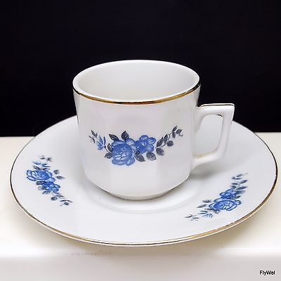 Concordia Lesov Thun Blue Rose Demitasse Cup and Saucer Paneled Czech Porcelain