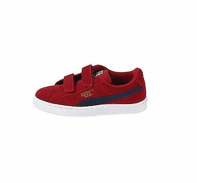 Puma Toddler Ps Kids Suede V Strap Red Blue 356274-04 Sizes 4 6 Only