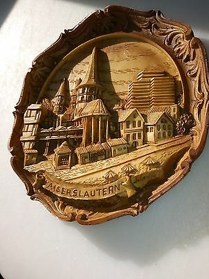 Unique Vintage Artist Signed 3D Hand Carved Wooden City of Kaiserslautern,...