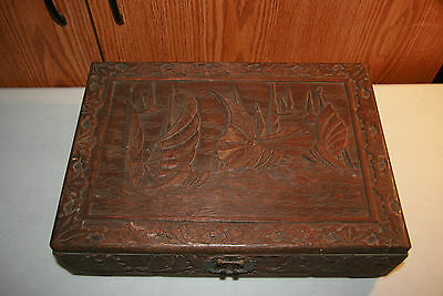 Vintage Hand Carved Chinese Art Wood Wooden Trunk Chest Box Sail Boats Antique